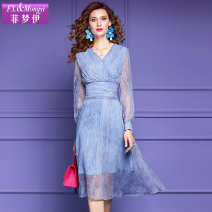 Dress Spring 2021 S M L XL 2XL 3XL Mid length dress singleton  Long sleeves commute V-neck High waist Solid color zipper A-line skirt routine 30-34 years old Type A FX.&Mongyi lady zipper More than 95% silk Mulberry silk 100% Pure e-commerce (online only)