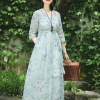 Dress Summer 2020 Blue Decor S,M,L Mid length dress singleton  elbow sleeve commute V-neck High waist Decor Socket Big swing routine Type A On Jiangnan ethnic style Pocket, tie, print 91% (inclusive) - 95% (inclusive) hemp
