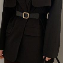 Belt / belt / chain Pu (artificial leather) black female belt Versatile Single loop Youth, youth alloy unclecm