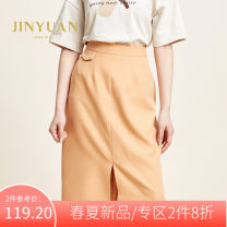 skirt Spring 2020 S M L Orange Mid length dress commute High waist skirt Solid color 25-29 years old More than 95% Jinyuan polyester fiber Korean version Polyester 100% Same model in shopping mall (sold online and offline)