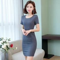 Dress Summer of 2019 Black, gray S,M,L,XL,2XL,3XL longuette singleton  Short sleeve commute Crew neck middle-waisted Solid color zipper Pencil skirt routine 30-34 years old Type H Korean version Chain, splicing, three-dimensional decoration 31% (inclusive) - 50% (inclusive) other polyester fiber