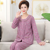 Pajamas / housewear set female Other / other cotton Long sleeves Simplicity Leisure home spring routine Small lapel Broken flowers trousers double-breasted old age 2 pieces Knitted cotton fabric printing Above 400g