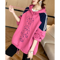 Sweater / sweater Spring 2021 Grey, pink Average size Long sleeves routine Socket singleton  routine Hood easy commute raglan sleeve Cartoon animation 35-39 years old 96% and above Clothing music Korean version cotton A2661 Embroidery cotton
