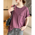 T-shirt Purplish red Average size Summer 2021 Short sleeve Crew neck easy Regular raglan sleeve commute cotton 96% and above 30-39 years old Korean version originality Solid color Clothing music A2807 Asymmetry
