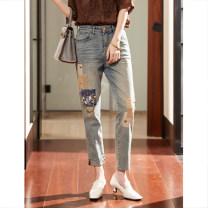 Jeans Spring 2021 wathet M,L,XL,2XL,3XL Ninth pants Natural waist Pencil pants routine 35-39 years old Nail bead , Wear out , Sticking cloth , Metal decoration light colour A2772 Clothing music 96% and above