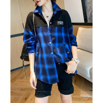 shirt Blue, red M, L Spring 2021 Viscose 81% (inclusive) - 90% (inclusive) Long sleeves commute Regular square neck Socket raglan sleeve lattice 35-39 years old Clothing music Korean version A2796 Button, button