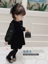 Dress Black Sequin skirt female Other / other 90cm,100cm,110cm,120cm,130cm,140cm Other 100% spring and autumn princess Long sleeves Solid color other Princess Dress 2021-3-11-5 other Chinese Mainland Guangdong Province Shenzhen City