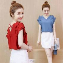 T-shirt Red, blue, white S,M,L,XL,2XL,3XL Summer 2021 Short sleeve V-neck easy Regular routine commute other 96% and above Korean version originality Solid color Ruffles, open back, solid