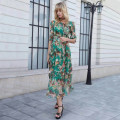 Dress Spring of 2019 Emerald green M(9-160),L(11-165),XL(13-170),XXL(15-175) longuette singleton  elbow sleeve commute Crew neck middle-waisted Decor Big swing pagoda sleeve Others 35-39 years old Type X Luo Lun's Poems lady Bright silk, bandage, zipper, printing 8089E