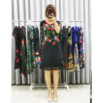 Dress 40-49 years old 768-415C Medium length skirt elbow sleeve singleton  commute Crew neck middle-waisted Design and color Condom A-line skirt routine Type X ethnic style Other Diamond, embroidery, lace Summer 2020 Jade sleeve M(9-160),L(11-165),XL(13-170),XXL(15-175)