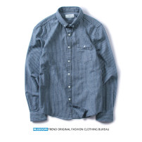 shirt Fashion City K.TWO HOLLIS M,L,XL,2XL,3XL Blue gray stripe routine Button collar Long sleeves Self cultivation go to work Four seasons youth tide 2018 stripe Color woven fabric other cotton Button decoration Easy to wear More than 95%