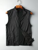 Vest / vest Fashion City Others M. L, XL, 2XL, 3XL, 4XL spot snapshot, 5XL spot snapshot black Other leisure Self cultivation Vest routine summer stand collar youth 2018 Solid color zipper Zipper bag