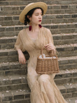 Dress Summer 2021 Sugar Decor S,M,L longuette singleton  Short sleeve commute V-neck High waist Solid color Socket Princess Dress bishop sleeve Breast wrapping Type A Other / other Retro 6861# Lace