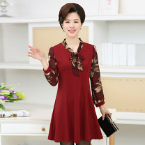 Middle aged and old women's wear Autumn 2020 fashion Dress Self cultivation singleton  Solid color 40-49 years old Socket moderate V-neck Medium length LLS LLS Medium length Ruffle Skirt