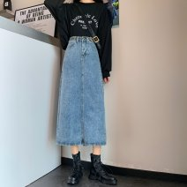 skirt Spring 2021 S [90-100kg], m [100-110kg], l [110-120kg], XL [120-135kg], 2XL [135-150kg], 3XL [150-165kg], 4XL [165-175kg], 5XL [175-200kg] Light blue, black Mid length dress commute High waist Denim skirt Solid color Type A 18-24 years old 31% (inclusive) - 50% (inclusive) Denim Other / other
