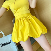 skirt Summer of 2019 S,M,L Yellow, black Short skirt Versatile High waist Lantern skirt Solid color Type O 91% (inclusive) - 95% (inclusive) brocade Other / other cotton