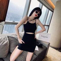Dress Summer 2020 Purple, black S,M,L Fake two pieces commute Solid color camisole 25-29 years old Other / other 51% (inclusive) - 70% (inclusive) cotton
