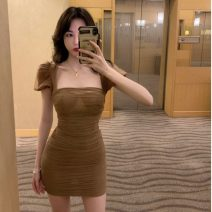 Dress Summer 2020 Khaki, black S,M,L Short skirt singleton  Short sleeve commute One word collar High waist Solid color Socket One pace skirt puff sleeve Others 18-24 years old Type A Other / other Korean version 81% (inclusive) - 90% (inclusive)