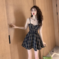 Dress Summer 2021 Picture color S,M,L,XL Short skirt singleton  Sleeveless commute One word collar High waist lattice zipper A-line skirt camisole 18-24 years old Type A Korean version 81% (inclusive) - 90% (inclusive)