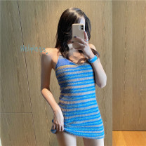 Dress Spring 2021 Many kinds of blue S,M,L Short skirt singleton  Sleeveless commute V-neck High waist Socket One pace skirt 18-24 years old Korean version #22640 51% (inclusive) - 70% (inclusive)