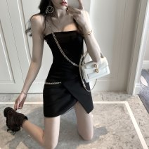 Dress Summer 2020 Picture color S,M,L Short skirt singleton  Sleeveless commute One word collar High waist Solid color zipper Irregular skirt camisole 18-24 years old Type H Korean version More than 95%