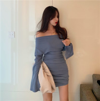 Dress Autumn of 2019 Blue, black Average size Short skirt singleton  Long sleeves commute One word collar High waist Solid color Socket One pace skirt pagoda sleeve 18-24 years old Type H Korean version 11402# 81% (inclusive) - 90% (inclusive)