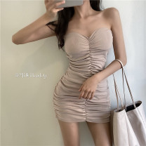 Dress Spring 2021 Average size Short skirt singleton  Sleeveless commute One word collar High waist Solid color Socket One pace skirt 18-24 years old Type H Korean version 81% (inclusive) - 90% (inclusive)