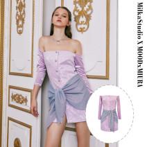 Dress Autumn 2020 violet S,M,L Short skirt singleton  Long sleeves One word collar 25-29 years old MOOD X MIURA polyester fiber