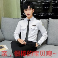 shirt Fashion City Others White, black, red routine square neck Long sleeves Self cultivation Other leisure Four seasons youth Business Casual 2018 Solid color No iron treatment polyester fiber Epaulet Easy to wear More than 95%