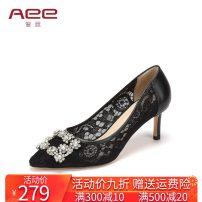 High shoes Two layer pigskin Multi material splicing High heel (5-8cm) Fine heel Black 115 (cow skin) dark red 124 (sheep skin) skin color 141 (cow skin) Sharp point 34 35 36 37 38 39 40 AEE / love Summer of 2019 Trochanter Youth (18-40 years old) Europe and America Adhesive shoes banquet