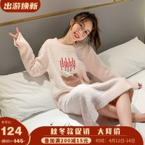 Nightdress Other / other Blue, pink Average size Sweet Long sleeves Leisure home longuette winter Cartoon animation youth Crew neck Polyester (polyester) Embroidery More than 95%
