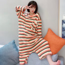 Nightdress Other / other Orange stripes, green stripes, blue stripes, purple green stripes Average size Cartoon Long sleeves Leisure home longuette winter stripe youth Crew neck other