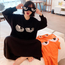 Nightdress Other / other Black, orange Average size Cartoon Long sleeves Leisure home longuette autumn Cartoon animation youth Crew neck cotton Embroidery More than 95%