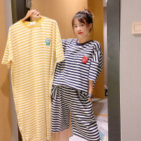 Pajamas / housewear set female Other / other Average size Black and white stripe suit, yellow and white stripe suit, green and white stripe suit, black and white stripe nightdress, yellow and white stripe nightdress, green and white stripe nightdress cotton Short sleeve Simplicity Leisure home summer