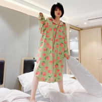 Nightdress Other / other Green, pink Average size Sweet Long sleeves Leisure home longuette spring Plants and flowers youth Small lapel cotton printing More than 95% pure cotton