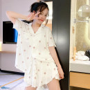 Pajamas / housewear set female Other / other Average size viscose  Short sleeve Cartoon Leisure home summer Thin money Crew neck Cartoon animation shorts Socket youth 2 pieces rubber string More than 95% modal  printing Middle-skirt