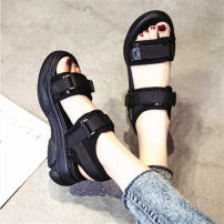 Sandals 33,34,35,36,37,38,39,40 Elastic cloth Other / other Barefoot Muffin bottom High heel (5-8cm) Summer 2020 Velcro Korean version Solid color Adhesive shoes Youth (18-40 years old), middle age (40-60 years old) polyurethane daily Back space Low Gang Lateral space Two layer pigskin Sports sandals