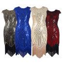Dress / evening wear Retro Medium length Deep collar V Deep V style Netting Sleeveless Nail bead stripe other Crystal tube