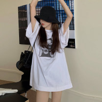 T-shirt T-shirt without LACE SLING Average size Summer 2021 elbow sleeve Crew neck easy Medium length routine commute cotton 96% and above 18-24 years old Korean version youth character next morning YC6142 Cotton 100% Pure e-commerce (online only)
