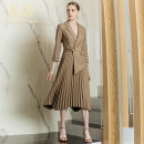 Dress Spring 2020 khaki S,M,L,XL longuette singleton  Long sleeves commute tailored collar High waist Solid color Socket Pleated skirt other Hanging neck style 25-29 years old AD Ol style Splicing Q383 More than 95% polyester fiber