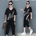 Women's large Summer 2020 Gray, white, black Large XL, large XXL, large XXL, large XXXXL, large XXXXL Two piece set other easy thin Socket Short sleeve letter Crew neck routine cotton printing and dyeing routine 25-29 years old 91% (inclusive) - 95% (inclusive)