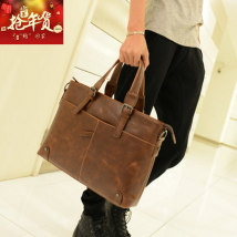 Men's bag The single shoulder bag PU Other / other Brown Black brand new leisure time Retro zipper in Zipper pocket computer insert Solid color Yes Single root youth Horizontal square Belt decoration Soft handle 14 inches One shoulder hand soft surface