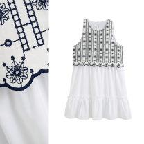 Dress Summer 2020 Black and white XS,S,M Short skirt singleton  Sleeveless commute Crew neck High waist Socket A-line skirt Others Type A TRAF ethnic style Embroidery Poplin