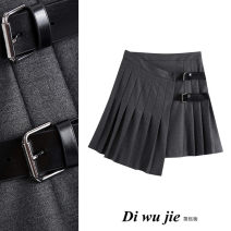 skirt Autumn 2020 XS,S,M,L dark grey Short skirt street High waist Pleated skirt Solid color Type A 18-24 years old TRAF polyester fiber Asymmetry