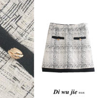 skirt Winter 2020 XS,S,M,L Black and white Short skirt street High waist A-line skirt Type A 18-24 years old TRAF Europe and America
