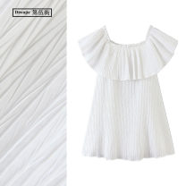 Dress Summer 2020 white XS,S,M,L Short skirt Short sleeve commute One word collar High waist Solid color Socket A-line skirt Lotus leaf sleeve Others Type A TRAF Korean version F616