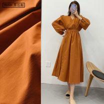 Dress Spring 2020 S,M,L Mid length dress singleton  Long sleeves commute V-neck High waist Solid color Socket A-line skirt bishop sleeve Others Type X TRAF literature