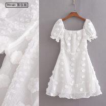 Dress Summer 2020 white S,M,L Short skirt singleton  Short sleeve commute square neck High waist Solid color zipper A-line skirt puff sleeve Others Type X TRAF Korean version 3D