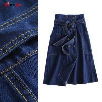 skirt Spring 2020 S,M,L,XL navy blue Mid length dress Versatile High waist Denim skirt Solid color Type A Denim TRAF