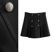 skirt Summer 2020 S,M,L Black, apricot Short skirt Versatile High waist A-line skirt Solid color Type A TRAF